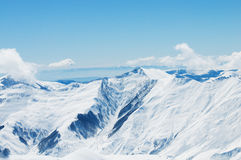 High mountains under snow Royalty Free Stock Photo