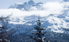 High mountains under snow in the winter. Italy Royalty Free Stock Photo