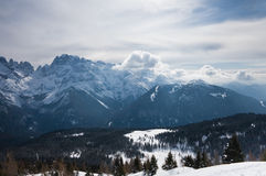 High mountains under snow in the winter. Italy Royalty Free Stock Images