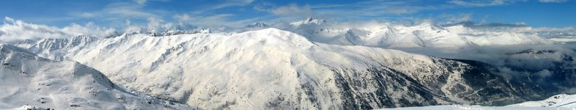 High mountains under snow in the winter. Panorama landscape Royalty Free Stock Photography