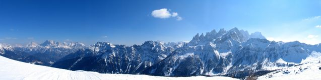 High mountains under snow in the winter. Panorama landscape Stock Image