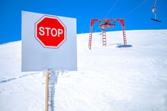 High mountains warning sign Stock Photo