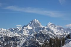 High mountains in winter. From Lussari Mount in the Italian Region called Friuli Stock Photography