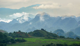 A high moutain with cloudy sky. In Sapa, Vietnam Royalty Free Stock Image