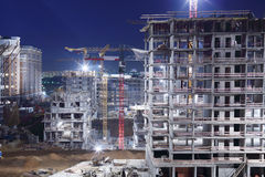 High multi-storey buildings under construction Royalty Free Stock Photography