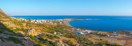 High night view of traditional village of Paleochora, Crete. royalty free stock image