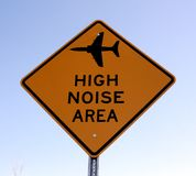 High noise traffic sign. High noise aircraft warning traffic sign Stock Photos