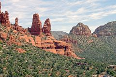 High Noon Red Rocks. View from Church of Holly Cross plateau, and surrounding area in Sedona, Arizona Royalty Free Stock Photography