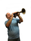 That High Note. A trumpet player hitting that high note,over white Royalty Free Stock Image
