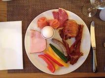 High nutrition breakfast. Breakfast serve with meat, pork Stock Photo