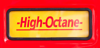 High Octane sign at classic fuel pump Royalty Free Stock Photo