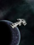 High Orbit, Science Fiction Battle Cruiser Royalty Free Stock Images