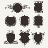 High Ornate Shield Frames Set. Royalty Free Stock Image