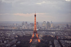 High panoramic view of the Eiffel Tower in Paris. A high panoramic view of the Eiffel Tower in Paris taken from the Montparnasse Tower after sunset Stock Images