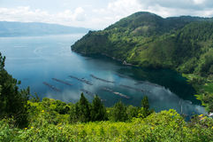 High panoramic view of the green bay at Samosir in Sumatra, Indonesia. High panoramic view of the green bay at Samosir in Sumatra, Indonesia Stock Photos