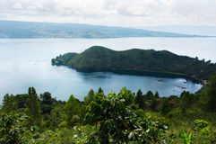 High panoramic view of the green bay at Samosir in Sumatra. High panoramic view of the green bay at Samosir in Sumatra, Indonesia Royalty Free Stock Photo
