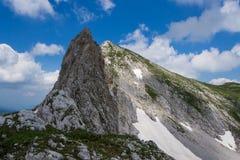 High peak in limestone mountain Bioc in Montenegro Stock Image