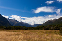 High peaks of Eglinton Valley in Fjordland NP, NZ Royalty Free Stock Photography