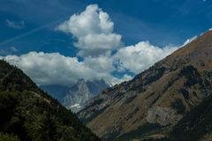 High peaks of the Italian Alps. Towards Mont Blanc, Italy Stock Photo