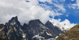 High peaks of the Italian Alps. Towards Mont Blanc, Italy Stock Image