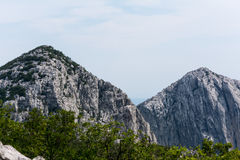 High peaks, ridges and forests on hillsides in mountains of Paklenica, Croatia Royalty Free Stock Images