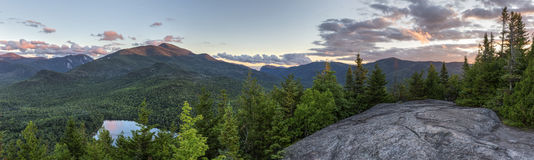 High Peaks Sunset Panorama From Mount Jo Stock Photos