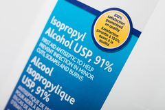 91% Isopropyl Alcohol as disinfectant. High percentage of isopropyl alcohol as disinfectant. Ninety one percent Isopropyl alcohol stock images