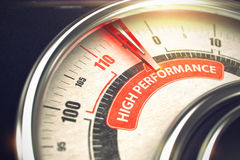 High Performance - Business or Marketing Mode Concept. 3D. Metal Speedmeter with Red Punchline Reach the High Performance. Illustration with Depth of Field royalty free stock images