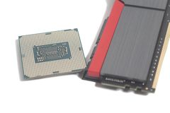 High performance DDR4 computer memory RAM and Central processing. Unit CPU processor microchip isolated on white royalty free stock image