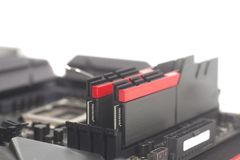 High performance DDR4 computer memory RAM on motherboard stock photography
