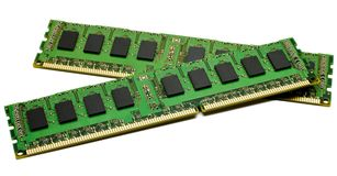 High performance DDR3 ECC computer memory. RAM(Random Access Memory) for servers on white background. Copyspace on chips and on green circuit board royalty free stock images