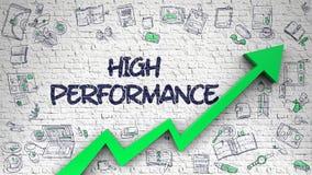 High Performance Drawn on White Brickwall. 3d. White Brickwall with High Performance Inscription and Green Arrow. Success Concept. High Performance - Modern royalty free illustration