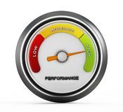 High performance. Needle points high performance on the gauge stock image