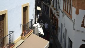 High perspective timelapse of narrow streets of the Jewish Quarter, Cordoba, Spain. Cordoba, Spain - Jul 13, 2018: High perspective timelapse of narrow streets stock footage