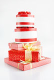 High Pile Of Beautiful Gift Boxes Stock Images