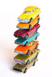 High pile of cars. High pile of colorful toy cars Royalty Free Stock Photography