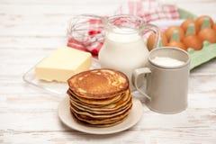 High pile of delicious pancakes Stock Photos