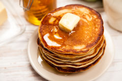 High pile of delicious pancakes Stock Image