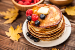 High pile of delicious pancakes Stock Photography