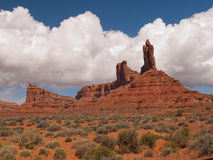 High pinnacles in a desert landscape. A desert landscape filled with dramatic cliffs, tall pinnacles and rock formations in the Valley of the Gods in southern Royalty Free Stock Image