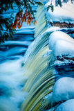 High point of Bond Falls in winter. Bond Falls in winter located in the upper peninsula of Michigan Royalty Free Stock Image