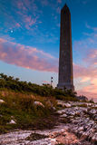 High Point State Park Veterans Memorial Monument at sunset. With the moon appearing on the side Royalty Free Stock Photo