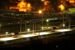 High point view of the city train station at night Stock Image