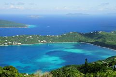 A high point view of Magens Bay, St. Thomas island with multiple other caribbean islands on the background royalty free stock images