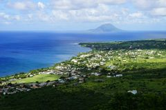 High point view over St. Kitts Island and Sint Eustatius Island in Caribbean Sea Stock Image