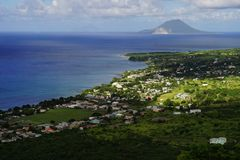 High point view over St. Kitts Island and Sint Eustatius Island in Caribbean Sea Royalty Free Stock Image