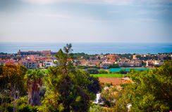 High point view to the city and sea. Royalty Free Stock Photos