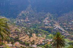 View into the valley of Valle Gran Rey. stock image