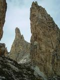 High pointed rocks close to Gardena Pass in Puez Geisler National Park, Italy royalty free stock image