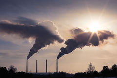 High pollution from coal power plant. Smoking chimneys. royalty free stock photos